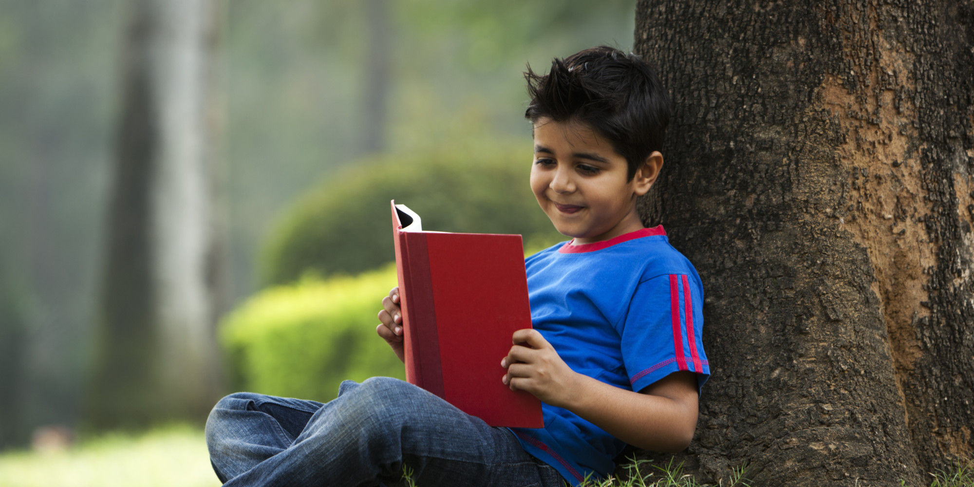 Boy (6-7) reading book under tree